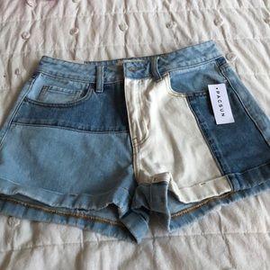 PacSun Two Tone Denim Hi Waist Shorts